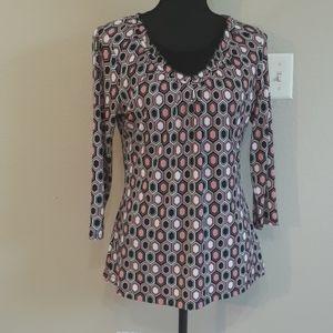 Liz Claiborne Ruffled Tunic 3/4 Sleeve Size Medium